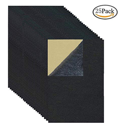25 Pieces Leather Patch, Adhesive Backing Leather seat Patch for Repair Sofa, Car Seat, Jackets, Handbag, 8 by 4 Inch, Black