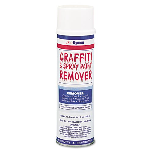 ITW Dymon Products - ITW Dymon - Graffiti/Paint Remover, Jelled Formula, 20 oz. Aerosol - Sold As 1 Each - Versatile formula can be used on most surfaces. - Jelled formula will not run off vertical surfaces. - Cleaner stays on the surface long enough to emulsify and work harder to remove paint and graffiti.