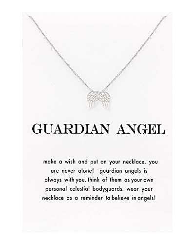 Zealmer Angel Wings Thin Chain Card Wish Necklace for Women -