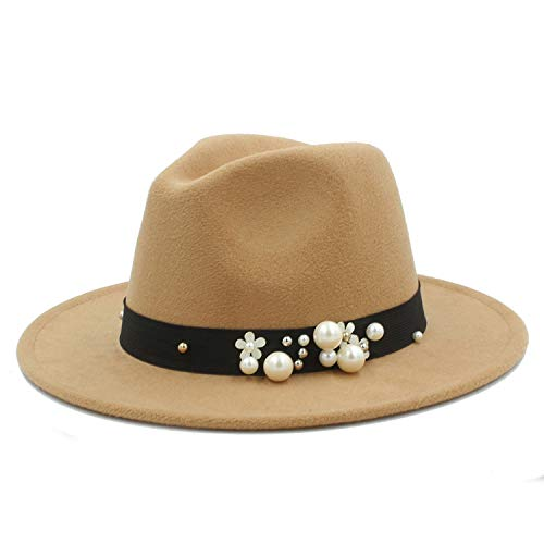 Wool Fedora Hat Winter Autumn Floppy Cloche Wide Brim Jazz Church Godfather Sombrero Caps Flower Pearl Ribbon Women Men Wine Red ()