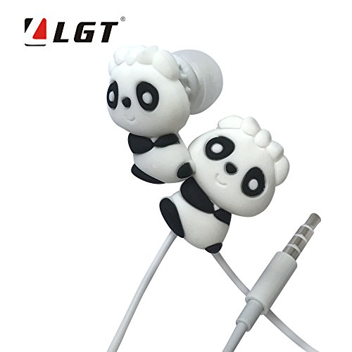 LGT Electronics Wired 3.5 mm Cartoon Panda Earphone/Earbuds/Headphones,suitable to Remote and Mic for Apple, Samsung, HTC,Android smartphones Tablets,hands-free/in-ear style earbuds