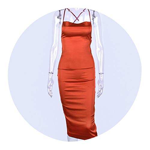 Long Dress Satin Sleeveless Bandage Backless Elegant Party Dress Sexy Elegant Hollow Out,Coral Red,L (The Hop Coral Cape)