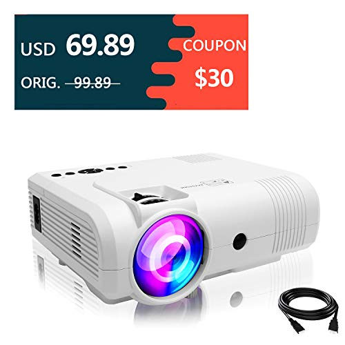 Projectors,PoFun(2018 Upgraded)+50% Lumens Mini Portable Projector,50,000 Hour LED Full HD 1080P Video Projector with 150Display and Compatible Fire TV Stick,HDMI,VGA,AV,SD (L8 White)