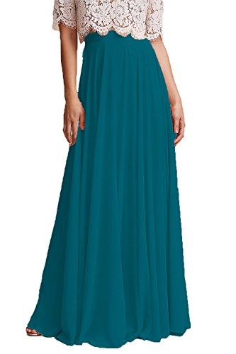 Honey Qiao Chiffon Bridesmaid Dresses High Waist Long Woman Maxi Skirt Peacock