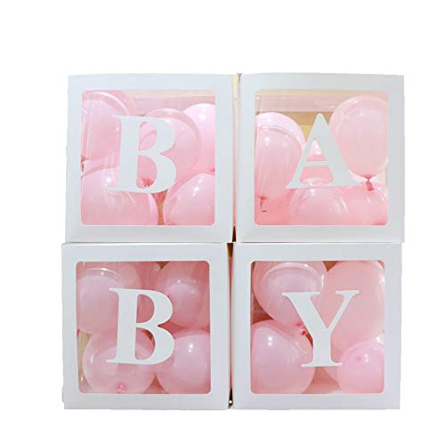 4pcs/Set DIY Transparent Box Latex Balloon Baby Blocks for Boy Girl Baby Shower Wedding Birthday Party Decoration