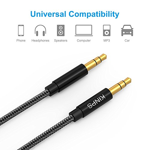 Audio Cable Auxiliary Stereo Audio Cord 3.5mm Male to Male, Kinps Stereo Jack Cord for Phones, Headphones, Speakers, Tablets, PCs, MP3 Players and More (4ft/1.2m, Black)
