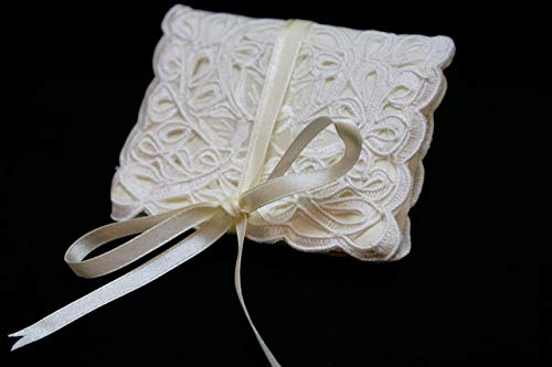 (Champagne Lace Jewelry Travel Pouch, Small Bi-Fold, Philippines Cutwork Embroidery Jusi Silk)