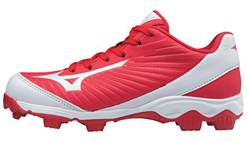 Mizuno (MIZD9) Boys' 9-Spike Advanced Franchise 9 Molded Cleat-Low Baseball Shoe, Red/White, 3 Youth US Big Kid