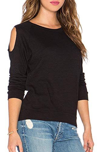 Duppoly Workout Tops for Women Loose Fit Active Shirts Long Sleeve T Shirts Black XL