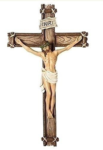 Traditional Corpus Natural Textured Wood Tone 6 x 10 Resin Stone Wall Crucifix ()