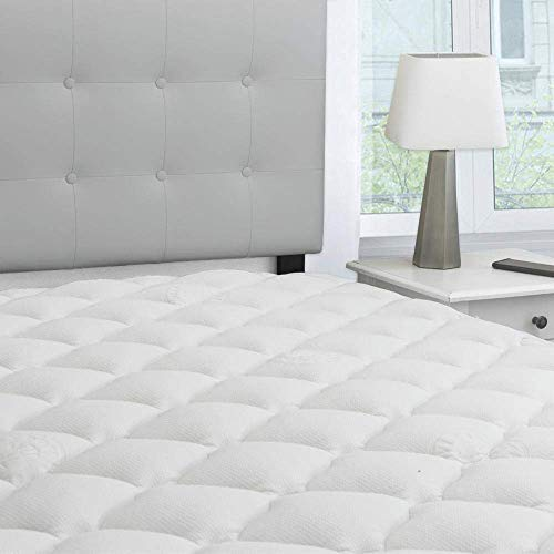 eLuxurySupply Bamboo Extra Thick Mattress Pad with Fitted Skirt - Extra Plush Cooling Topper -...