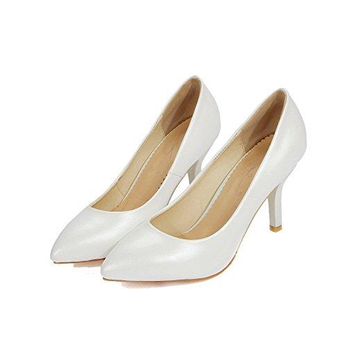 Donne Chiuso Amoonyfashion punta Bianco Delle calzature Alto tacco Pu Solidi Pompe pwCXqp