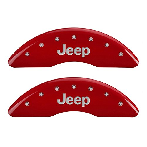 MGP Caliper Covers 42012SJEPRD Red Powder Coat Finish Front and Rear Caliper Cover, Set of 4 (JEEP Silver Characters, Engraved)