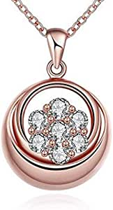 Gold necklace for women in a circular motion with zircon stone