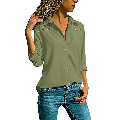 (Liraly Womens Tops Clearance New Fashion Women V-Neck Pure Color Button Long Sleeves Plus Size Tops Loose Blouse Casual Shirts(US-4 /CN-S,Army Green ))