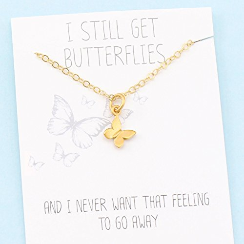 I Still Get Butterflies • 24k Gold Vermeil • Tiny Butterfly Charm • Meaningful Card • Love Gift for Her