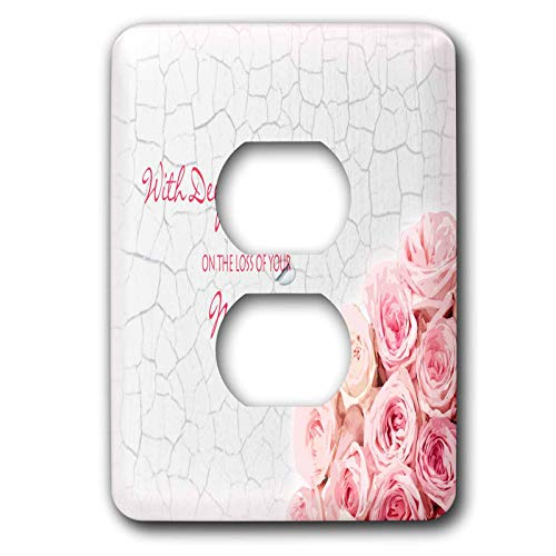 3dRose Janna Salak Designs Sympathy - With Deepest Sympathy on the Loss of your Mother - Pink Roses - Light Switch Covers - 2 plug outlet cover ()