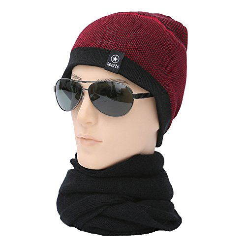 Ukallaite Our Fashion Century - Gorro de Punto elástico para Hombre, Forro Polar, cálido, Color Negro, Gris rosso