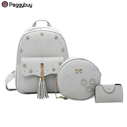 be49b2d186 Amazon.com  DingXiong 3Pcs Set Fashion Composite Backpacks School Bags for  Teenage Girls PU Leather Women Backpack Shoulder Bag Purse  Garden   Outdoor