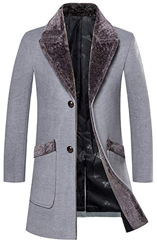 HOP FASHION Mens Luxury Fur Collar Coat Long Wool Blend Overcoat Winter Thicken Two Button Outwear Jacket with Sides Pockets HOPM291-Grey-XL (Notched Coat Fur Collar)