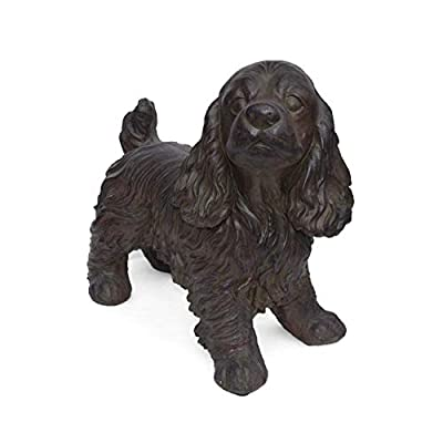 Christopher Knight Home Messiah Outdoor Cocker Spaniel Dog Garden Statue, Brown Finish