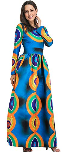 Baroque Print Dress (Long Sleeve Circle Baroque Ethnic Tribal African Geometric Highwaist Pleated Long Maxi A-Line Dress Blue L)