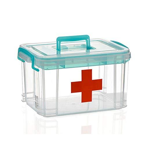 Caja de Almacenamiento de Almacenamiento de plástico, Caja de Almacenamiento de Medicina del hogar, Transparente, con...