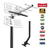Outdoor TV Antenna 150 Miles Range Amplified Digital HDTV Antenna with Mount Pole & 33 Feet Coaxial Cable, Support 2 TVs & Outdoor/RV/Marine Use