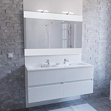 Meuble salle de bain simple vasque ROSALY 120 - Blanc brillant ...