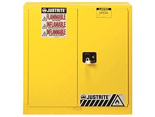 Justrite 893010 Sure-Grip EX Steel 2 Door Manual Combustibles Safety Cabinet, 40 Gallon Capacity, 43'' Width x 44'' Height x 18'' Depth, 3 Adjustable Shelvess, Yellow