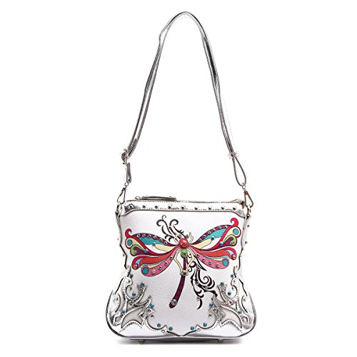 Western Handbag - Colorful Dragonfly Studded Messenger Style Bag