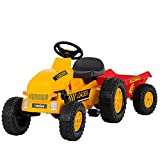 Uenjoy Kids Pedal Tractor Pedal Powered Ride On Toy Tractor for Kids with Detachable Trailer, Horn, Adjustable Seat, Forward/Backward, Yellow