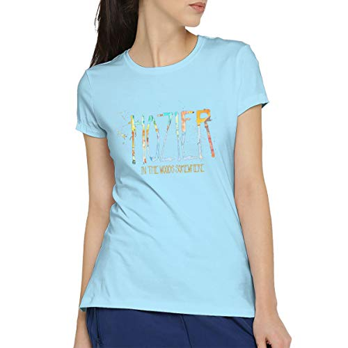 CHUNT Hozier in The Woods Somewhere Women's Short Sleeve T-Shirt Cotton Tees L Sky Blue