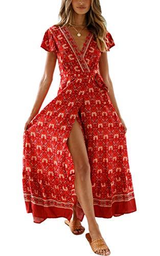 ECOWISH Women's Dresses Bohemian Wrap V Neck Short Sleeve Ethnic Style High Split Beach Maxi Dress Wine Red S