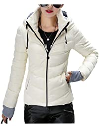 Womens Winter Jacket Parkas Thicken Outerwear Solid Hooded Coats Short Slim Cotton Padded Basic Tops (