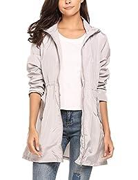 Meaneor Women Packable Hooded Long Sleeve Outdoor Waterproof Raincoat Jacket