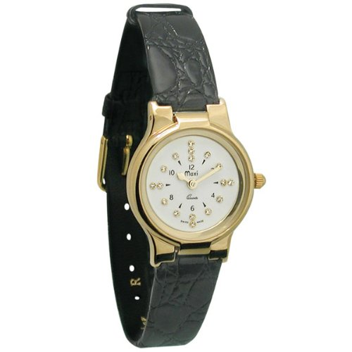 Ladies Gold-Tone President Quartz Braille Watch with Leather Band by MaxiAids