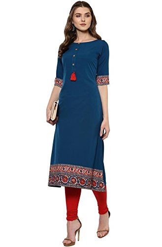 Janasya Indian Tunic Tops Crepe Kurti for Women (JNE2100-KR-144-S) Turquoise