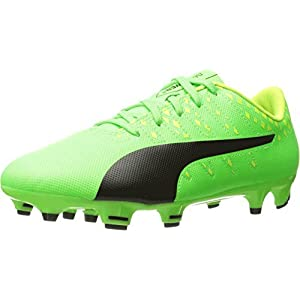 Puma Kids Unisex Evopower Vigor 4 FG Jr Soccer (Little Kid/Big Kid) Green Gecko/Puma Black/Safety Yellow Oxford