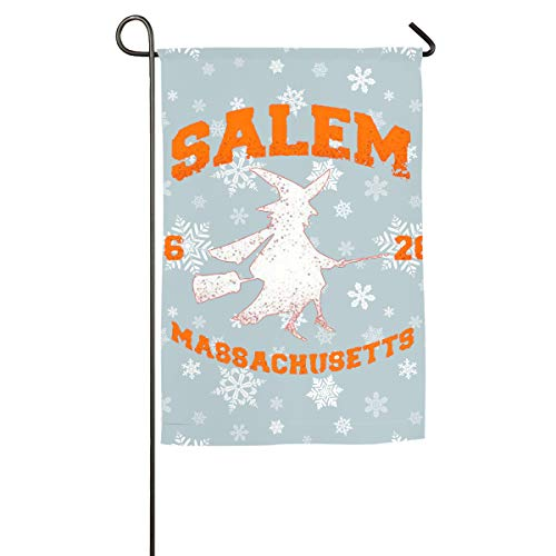 Qinf Salem Witch College Halloween Floral Garden Yard Flag Banner-Best for Party and Decor -