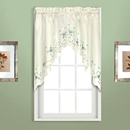 American Curtain and Home Theresa Window Treatment Swag, 60-Inch by 30.5-Inch, Natural/Blue, Set of 2