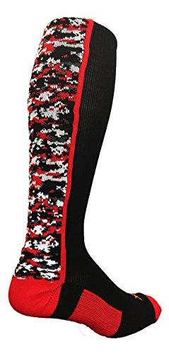 TCK Digital Camo OTC Socks (Black/Red, Small)