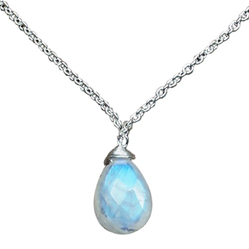 CZgem Moonstone Necklace Nature, 925 Sterling Silver Drop Handmade, Blue Light Gemstone Birthstone Gift 19