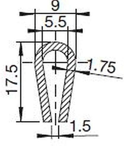 noir Intervalle de 1,5-5,5/mm Noir Profil/é la de cadre Eutras FP3002 pour protection de cadres Joint en caoutchouc 1796