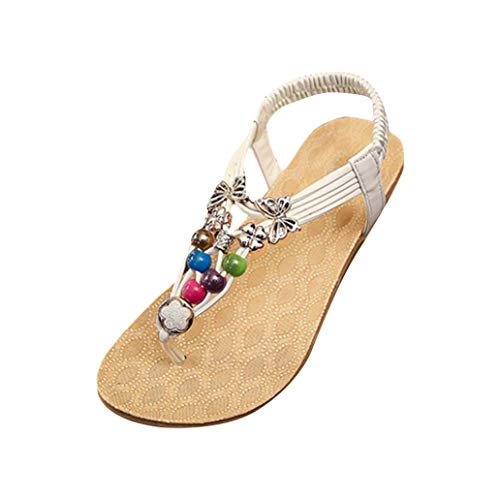 Start Women Summer Bohemia Colorful Bead Butterfly Sandals Shoes (US=8, White)