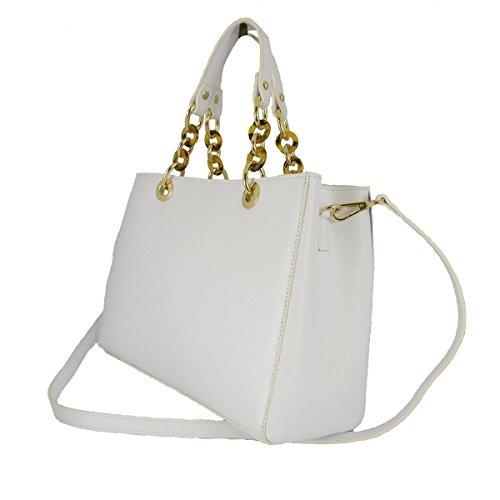 Borsa Donna Con Manici In Vera Pelle Ed Anelli Mod. Grande Colore Bianco - Pelletteria Toscana Made In Italy - Borsa Donna