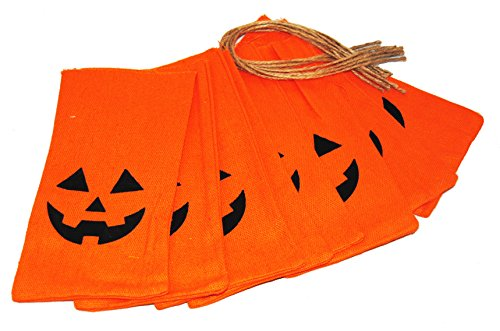 Halloween Fabric Pumpkin Jack O Lantern Treat Bags or Craft Pack of 8