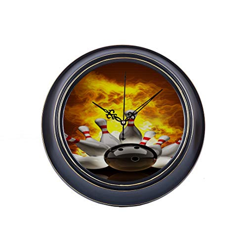 14 Inch Large Silent Non Ticking Wall Clock Abstract Bowling Ball Crashing Into The Pins On Fi Printing Round Quality Quartz Battery Operated Wall Decor Quiet Metal Clock For Home Office Bedroom