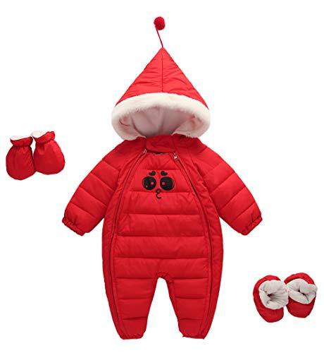 31d0ac45a Happy Cherry Baby Hooded Snowsuit Fleece Romper with Feet Gloves Zipper  Padding Onesie
