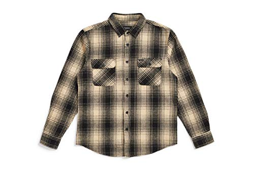 Brixton Men's Bowery Standard FIT Long Sleeve Flannel Shirt, Black/Bone, M (Best Mens Flannel Shirts 2019)